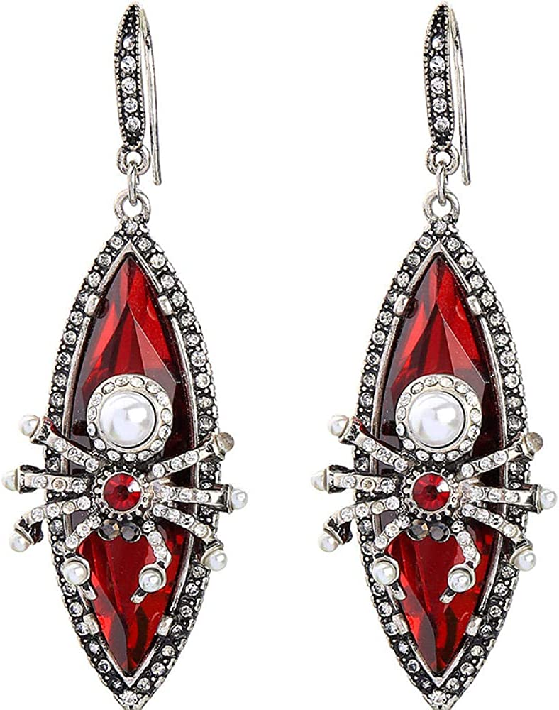 Joyas Retro Personalidad Pendientes de araña de cristal rojo Pendientes de moda Kdw