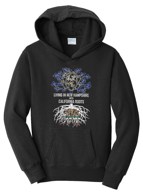 Tenacitee Girls Living in New Hampshire with California Roots Hooded Sweatshirt