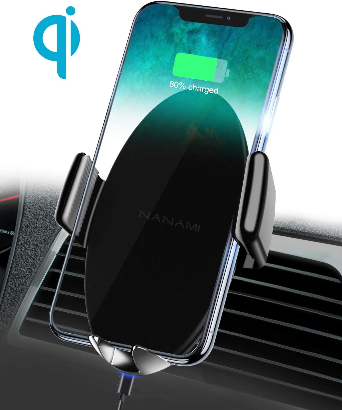 NANAMI Wireless Car Charger,10W Max Fast Charging Car Mount,Air Vent Auto-Clamping Phone Holder,Compatible iPhone 11//11 Pro//11 Pro Max//XS Max//XS//XR//X//8//8 Plus,Samsung S10//S10+//S9//S8//S7//Note 10//9//8,LG