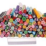 Cute Nails Designs 150pcs 3D Cute Designs Nail Art Fimo Canes Sticks Stickers Rods Gel Tips Manicure Decoration + Blade