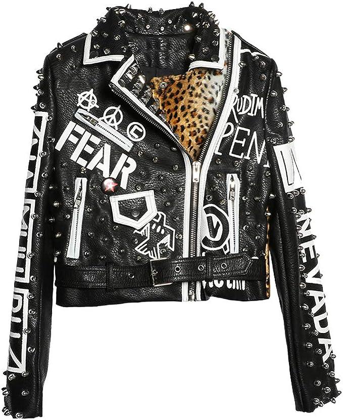 Black Motor LIANDESHENG Jacket Punk Leather Coat Print Studded Women Biker Leopard 8wOknP0