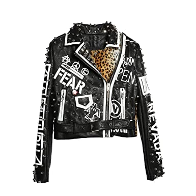 746e2dddda05 LIANDESHENG Leather Jacket Women Leopard Print Ladies Motor Biker Punk  Cropped
