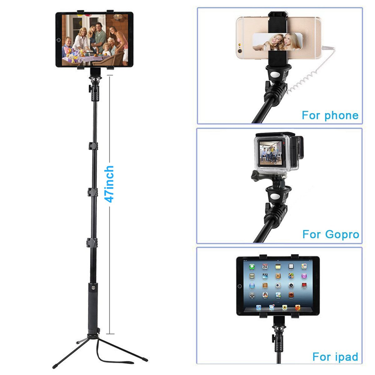 ohCome [Battery Free] 16.5-57'' Wired Handheld Aluminium Monopod -Use as Selfie Stick, Gopro Pole, Floor Tablet/Phone Tripod Stand | Fit for 3.5-10'' Tablets, iPhone, Android Phones, Gopro Hero Camera