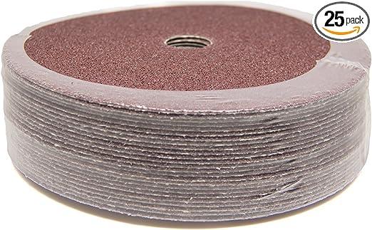 25 Pack 6 x 7//8 Mercer Industries 303016 16 Grit Aluminum Oxide Resin Fiber Discs