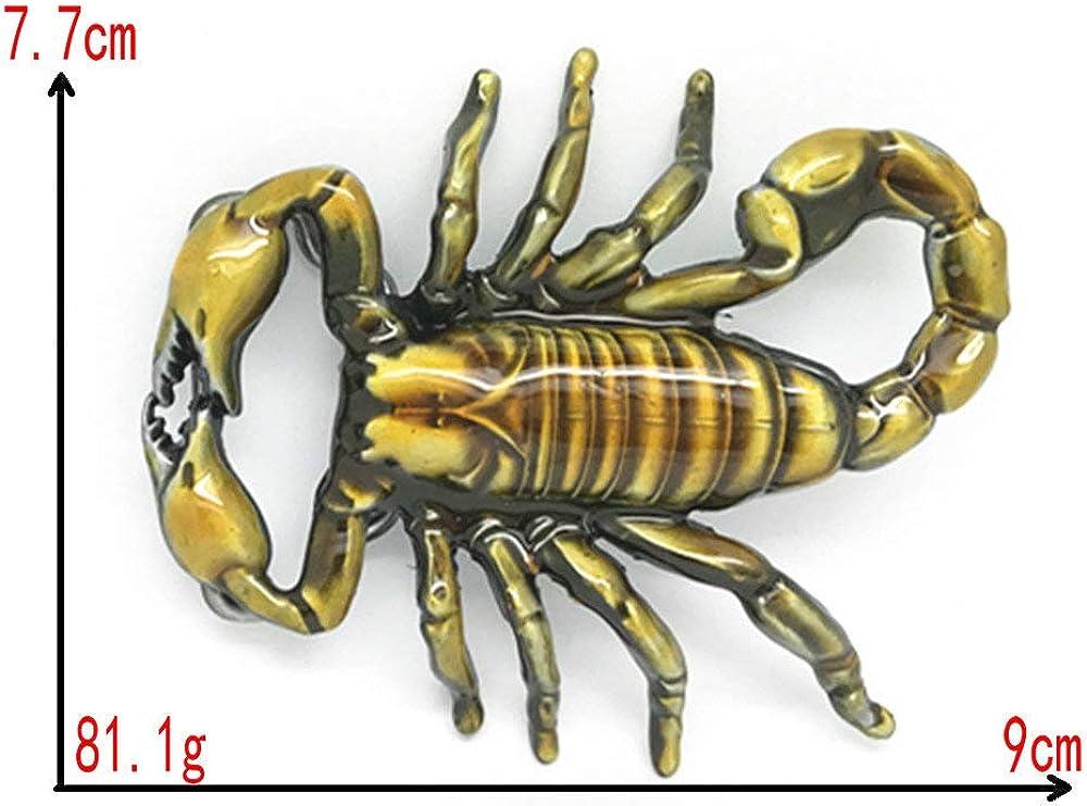 RQWY Fibbia della cintura Accessori per cintura Colore Giallo Scorpione 3D Fibbia per cintura in metallo per cintura 4cm