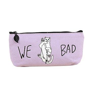 Loneflash Estuche de lápices, creativo lona para gatos malos, estuche con cremallera, bolsa