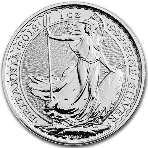 2018 Great Britain 2 Pounds Silver Britannia 1oz. BU (Brilliant Uncirculated) Coin 2 Pounds Choice Uncirculated British Royal Mint
