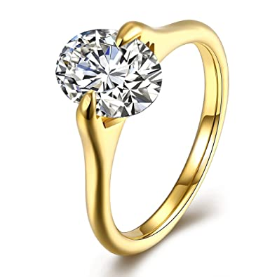 6676bd79dd4ee Amazon.com: LuckyWeng Women's Oval 2 Prong CZ Solitaire Fine Simple ...