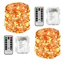 LightsEtc 2 Pack 100 LED String Lights Copper Wire 33ft Warm White Light 8 Modes Remote Control