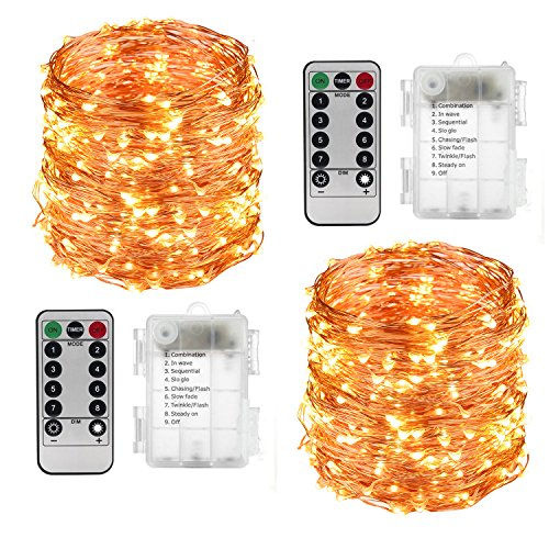 Warm Christmas Scene - LightsEtc 2 Pack 100 LED String Lights Copper Wire 33ft Warm White Light 8 Modes Remote Control
