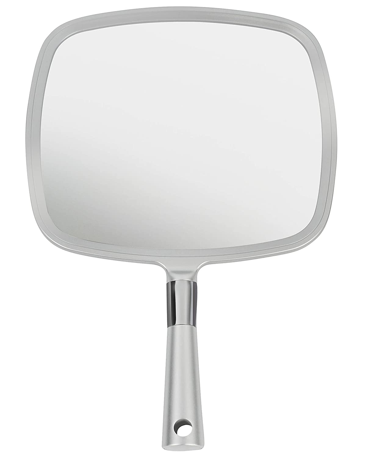 Mirrorvana Large & Comfy Hand Held Mirror with Handle - Silver Salon Model (1-Pack)