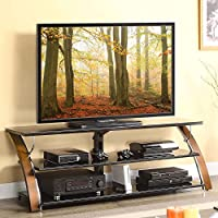 3-Shelf Tabletop Console for TVs up to 70 with 3 Glass Shelves Crafted with Brown Cherry Wood and Polished Chrome Accents