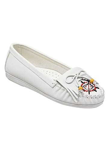 a6c4b8303 Leather Moccasins | Beaded Leather Moccasins for Women, Color White, Size 6  (Wide
