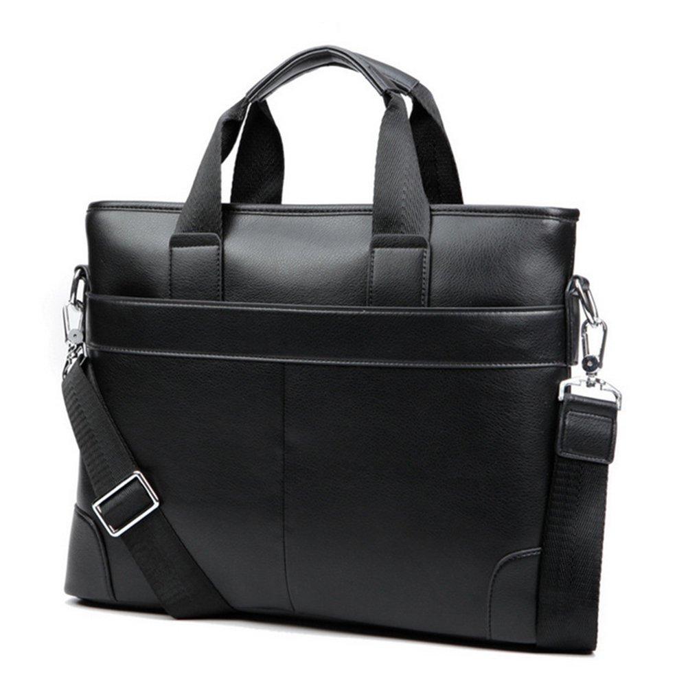 Oudan Aktentasche aus Leder Aktentasche aus Leder mit Schulterriemen (Farbe : Schwarz)
