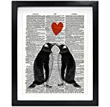 Susie Arts 8X10 Unframed Penguin Couple in love with heart Upcycled Vintage Dictionary Art Print Book Art Print Home Decor Funny Wall Art V151