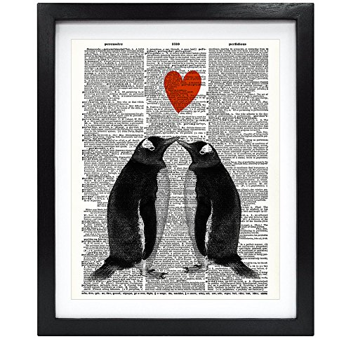 Susie Arts 8X10 Unframed Penguin Couple in love with heart Upcycled Vintage Dictionary Art Print Book Art Print Home Decor Funny Wall Art V151 by Susie Arts