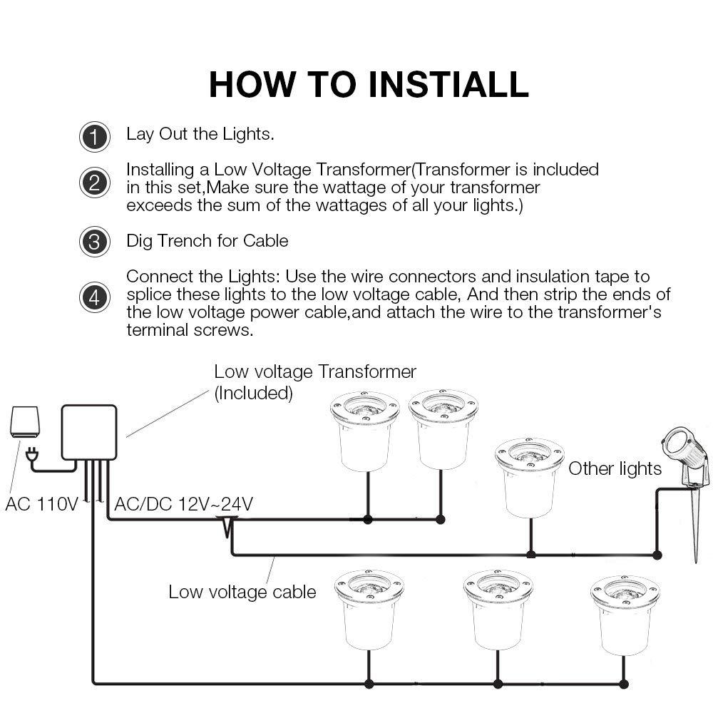 LCARED Landscape Lights LED Pathway Lights 2W Low Voltage Landscape Lights  Warm White Outdoor spotlights for Garden, Yard, Patio, Step, Deck(6 Pack)  ...