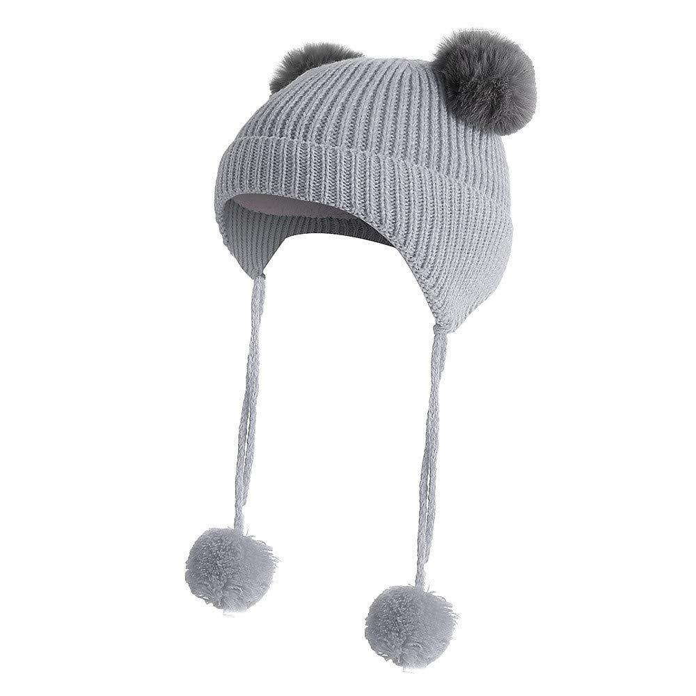 Kingko ® Baby Hats Winter Warm Toddler Newborn Hairball Cap Hat Boy Girl Beanie Ear CapHat Crochet Hat Cute (Yellow) (White)