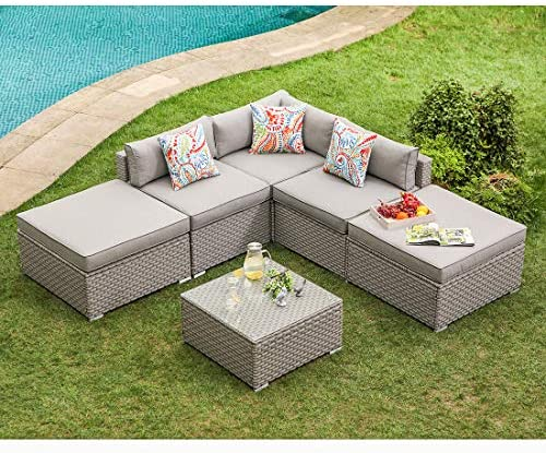 COSIEST 6-Piece Outdoor Furniture Set Warm Gray Wicker Sectional Sofa w Thick Cushions, Glass Coffee Table, 2 Ottomans, 3 Floral Fantasy Pillows for Garden, Pool, Backyard