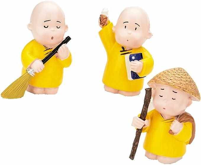 TATEELY 4Pcs//Set Car Ornaments Resin Monks Maitreya Buddha Kung Fu Buddhism Figure Doll Gift Auto Dashboard Decoration Pendants Charms Toy Gift