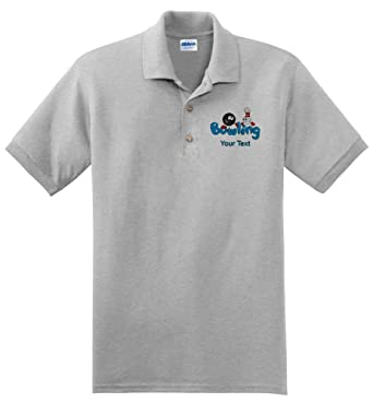 7ca6b3e66 Amazon.com: Personalized custom embroidered Bowling design on polo shirt:  Clothing