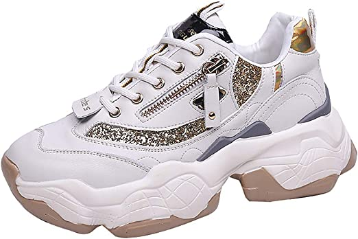 Chunky Sneakers for Women Retro Lace-Up