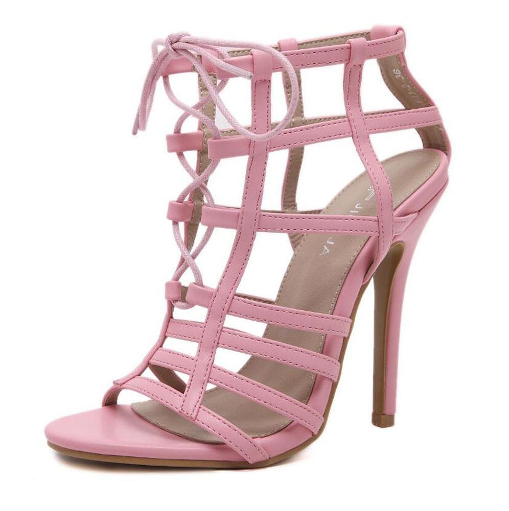 GLTER Mujeres Ankle Strap Bombas Verano Single-Tide Sección Nuevo Alto Perfil Tightened Hollow Sandalias Zapatos Peep Toe Zapatos Corte Zapatos , pink , 37 37|pink