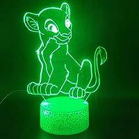 3D-illusionslampa LED nattlampa djur lejonkungen Nala tecknad batteridriven beröringssensor färgglad med fjärrkontroll