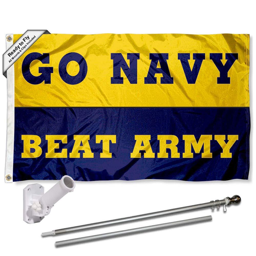 アメリカ海軍 ミッドシップメン ビートアーミーフラッグ ポールとブラケットキット付き