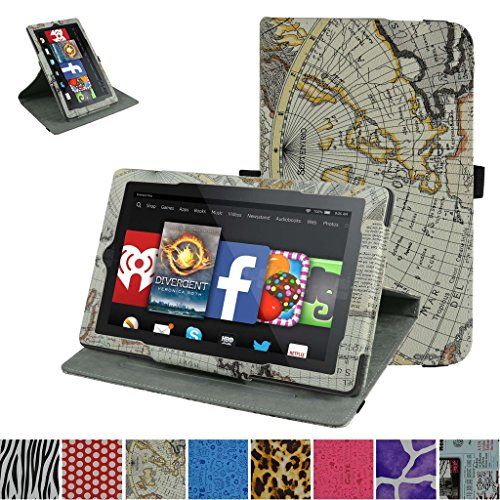 Fire HD 10 2015 Rotating Case,Mama Mouth 360 Degree Rotary Stand with Cute Cover for 10.1 Amazon Fire HD 10 Tablet 5th Generation 2015 Release,Map White
