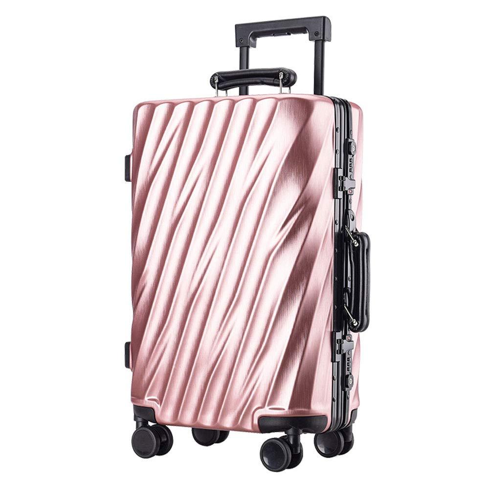 アルミフレームトロリーケースツイルラゲッジユニバーサルホイール搭乗荷物チェックロックボックス(20/24/26/29インチ) (Color : ローズゴールド, Size : 20 inch)   B07R9WYBV6