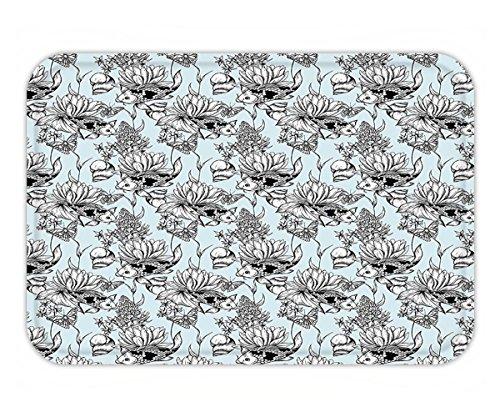 Minicoso Doormat Shabby Chic Vintage Monochrome Pond Water Flowers Lily Carp Snail Twigs Artwork Baby Blue Black - Twigs Monochrome