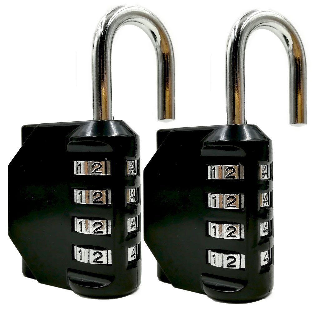 TreasureFlow 2 Pack 4 Digit Combination Padlock Set for School, Gym or Sports Locker, Door, Cases, Toolbox and Fences, Hasp Storage Lock (Black&Black)