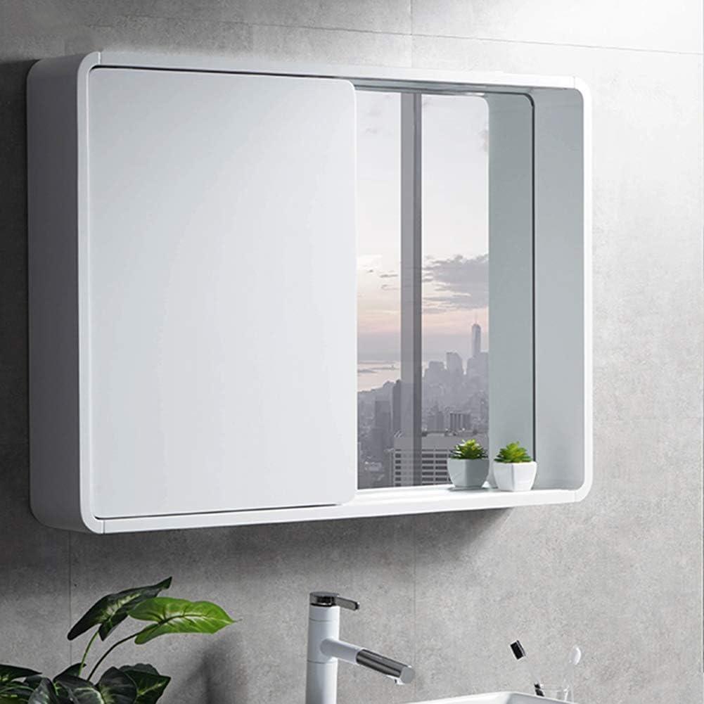 SXFYZCY Mueble de Espejo de baño de Madera Maciza Mueble de Espejo Deslizante Oculto Espejo de baño Moderno con Estante Mueble de Espejo de Pared: Amazon.es: Hogar