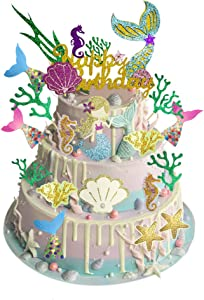 Glitter Mermaid Theme Happy Birthday Cake Topper with Seaweed, Shell, Starfish, Hippocampus and Ocean Mermaid Tail, Cupcake Toppers Favors for Girls Themed Birthday Baby Shower Party Decor, Pack of 17