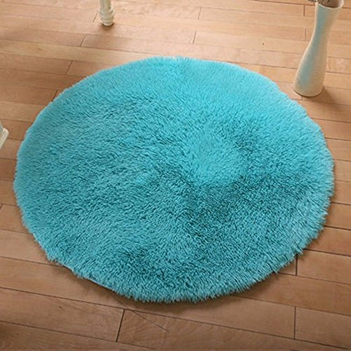 DODOING Blue Shaggy Rugs Soft Kitchen Area Carpet New Design Living Room Carpets Modern Round Fluffy Rugs,Diameter - Wicker Ocean Sofa