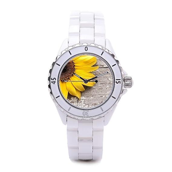 Reloj de pulsera de flores de girasol Ladies cerámica relojes Vintage Hombre Relojes: Amazon.es: Relojes