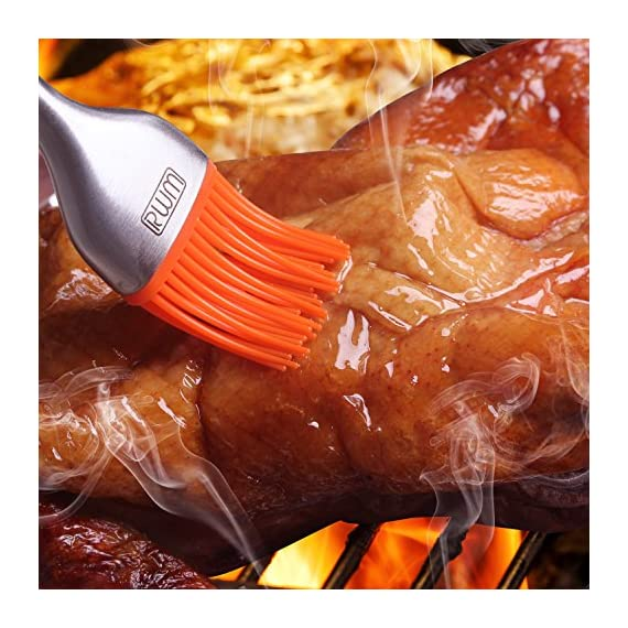 RWM Basting Brush - Good Grips Flexible Heatproof Stainless Steel Pastry Brush with Back up Silicone Brush Head Resistant,Dishwasher Safe,BPA Free 6 RWM bbq basting brush is built to coat your food with more flavor.it can seamlessly bring your choice of oil, melted butter, marinades and sauces directly to what is on the grill and lock in the flavor. Its handle is Constructed of polished stainless steel for durability,providing a comfortable grip. Silicone bristles are stain-resistant, heat-resistant, won't clump or scratch cookware,ready to hold and retain liquid