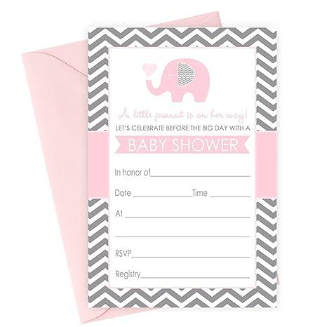 Color Rosa Elefante Baby Shower Invitaciones Y Sobres Llenar En