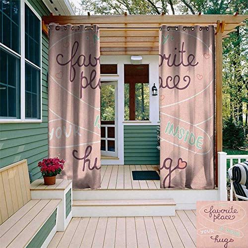 Romantic, Outdoor Curtain Grommet, Your Hug is My Favorite Place Quote with a Soft Color Palette Romantic Pattern, Outdoor Patio Curtains W108 x L108 Inch Multicolor