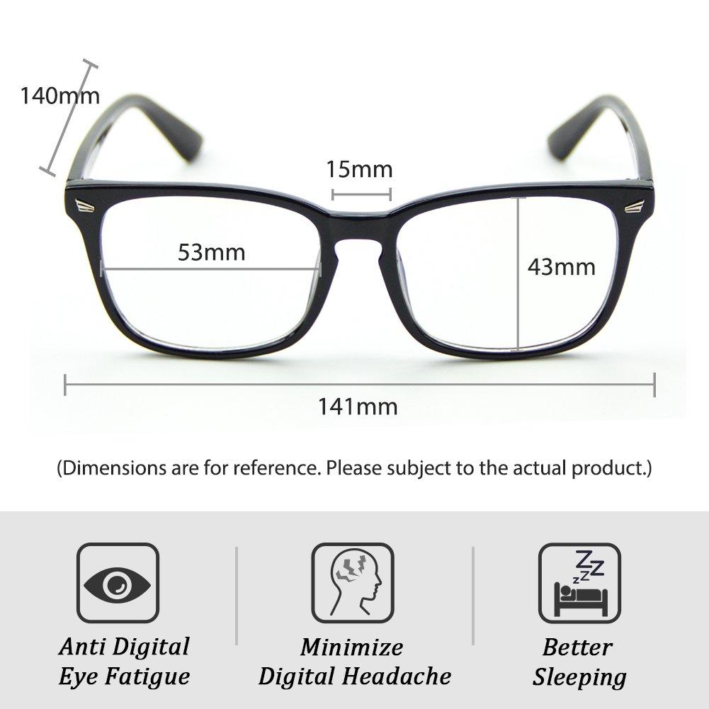 Cyxus Blue Light Filter Computer Glasses for Blocking UV Headache [Anti Eye Eyestrain] Transparent Lens, Unisex (Men/Women) (classic black) by Cyxus (Image #5)