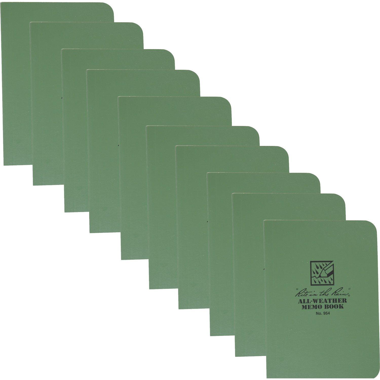 Rite in the Rain 954 Green Tactical Memo Field-Flex 5-Inch x 3 1/2-Inch, 10-Pack
