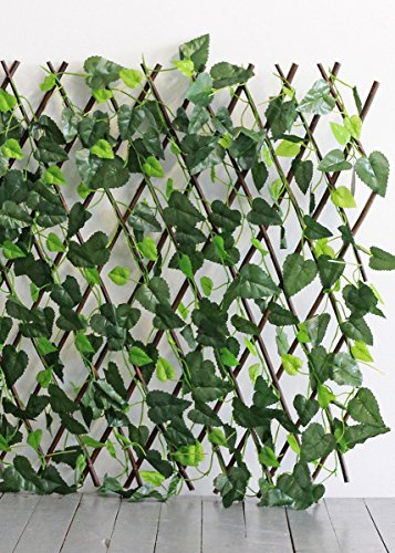 Floral Home UV Protected Outdoor Plastic Ivy Expandable Trellis Fence - 82