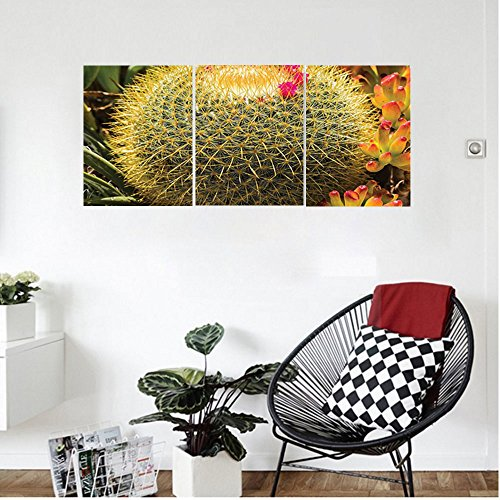Liguo88 Custom canvas Cactus Decor Photo of Cactus Plant Flower with Spike Botanic Desert Garden Floral Image Wall Hanging for Bedroom Living Room Green and (Pearlescent Spikes)