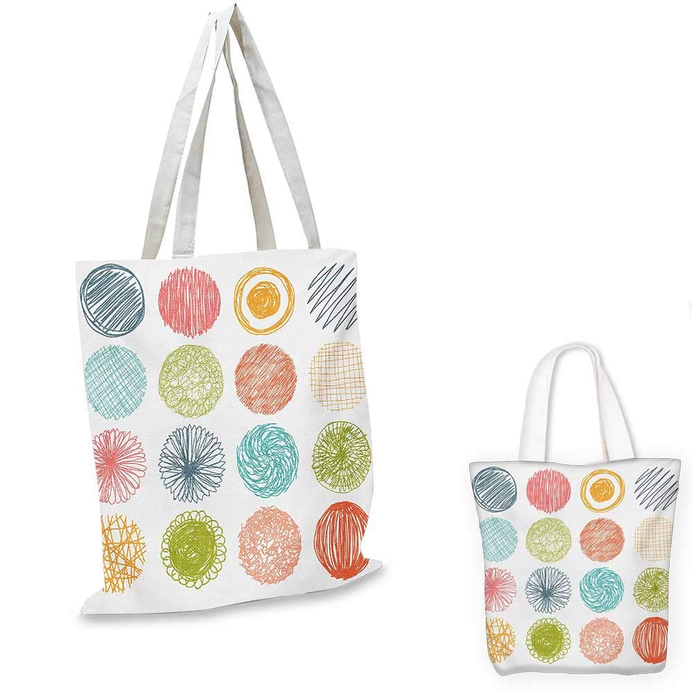 16x18-13 Abstract canvas messenger bag Colorful Geometrical Shapes with Gaps Circles Oval Lines Mix Pattern canvas beach bag Orange Green Pale Blue