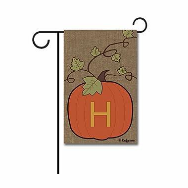 KafePross Happy Fall Pumpkin Monogram H Garden Flag Autumn Letter Initial Decor Banner 12.5 X18  Print Both Sides