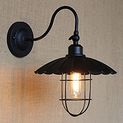 Vintage Barn Metal Hanging Pendant-LITFAD Semi Flush Cage Ceiling Chandelier Hanging Light Fixture Max. 40W Painted Finish