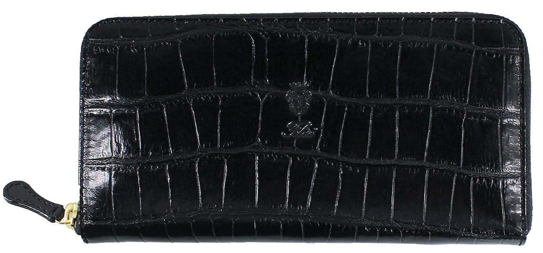 Felisi フェリージ クロコダイル型押し エンボスレザー ラウンドジップ長財布 125/SA BLACK(ブラック) B078ZDZ26K  F