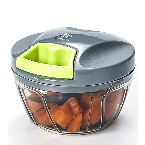 Kalokelvin Picadora Manual, Cortador de Verduras Mini Picadora Manual de Verduras/Ajo y Cebolla/Frutos Secos/Perejil/Carne, Picadora de Alimentos con ...