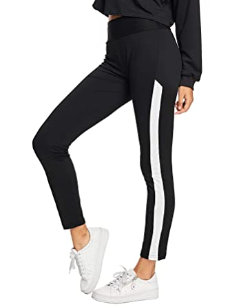 f502c349913b36 Shocknshop Black White Wide Striped Side Skinny Bottoms Women Mid Waist  Casual Sports Leggings (LEG81): Amazon.in: Clothing & Accessories